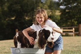 girl-washing-dog